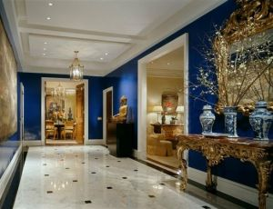 Sapphire blue Asian inspired hallway - stylish home ideas.jpg